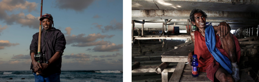 Left image: A portrait of a fisherman set against a twilight sky. Right image: An Indonesian homeless man sits under a shadowy bridge